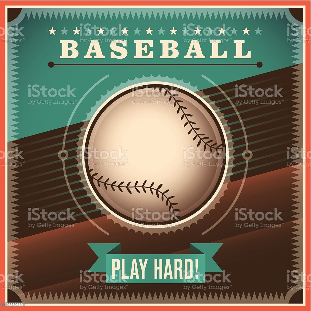 Baseball background with retro design. vector art illustration