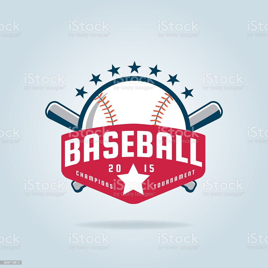 Baseball badge vector art illustration