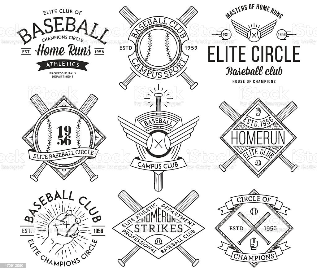 Baseball badges and icons vector art illustration