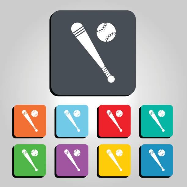 Baseball Ball and Bat Vector Icon Illustration vector art illustration