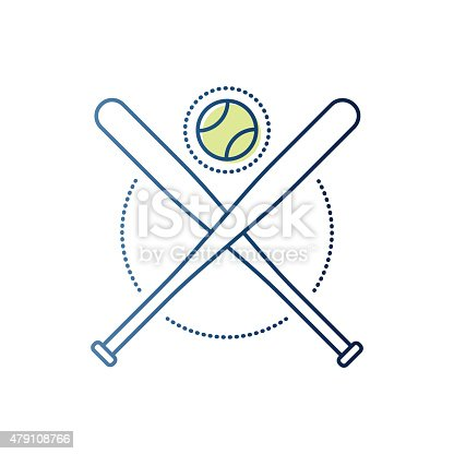 Thin line icon baseball ball and clubs symbol for baseball sports compositions. Modern style vector illustration concept.