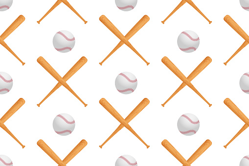 Baseball ball and realistic 3d wooden cross bat seamless pattern. Usa national sport game equipment on white background textile print.  Vector illustration