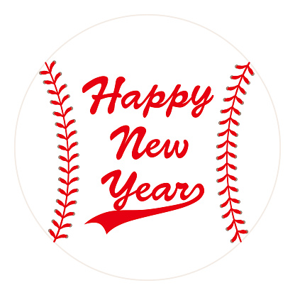 baseball ball card with Happy New Year.