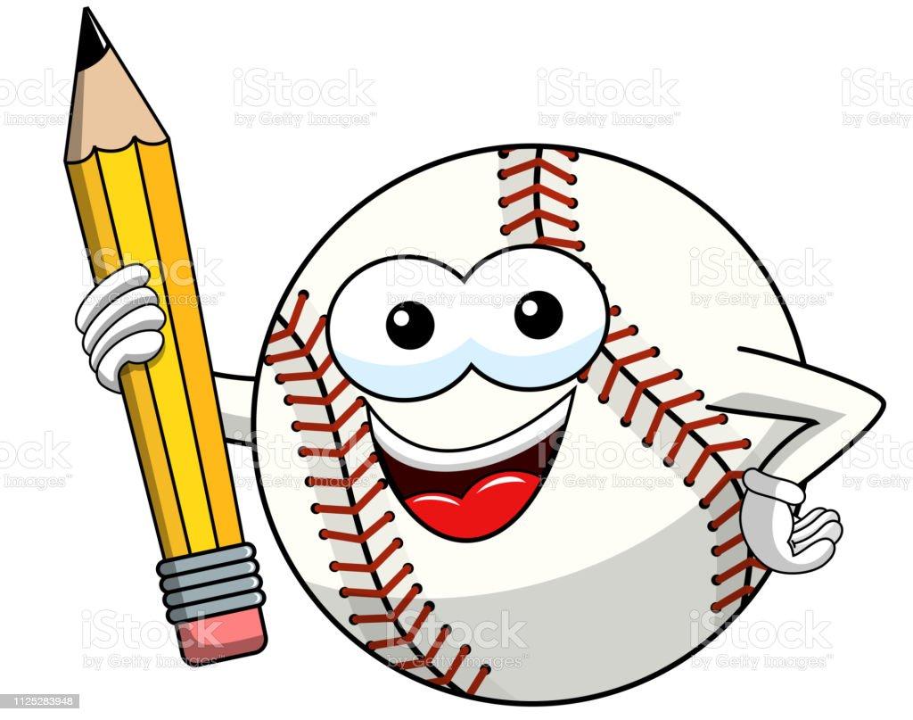 Ilustración De Béisbol Bola Mascota De Dibujos Animados Vector De