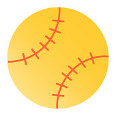 Baseball ball flat icon. Leather ball color icons in trendy flat style. Sport inventory gradient style design, designed for web and app. Eps 10