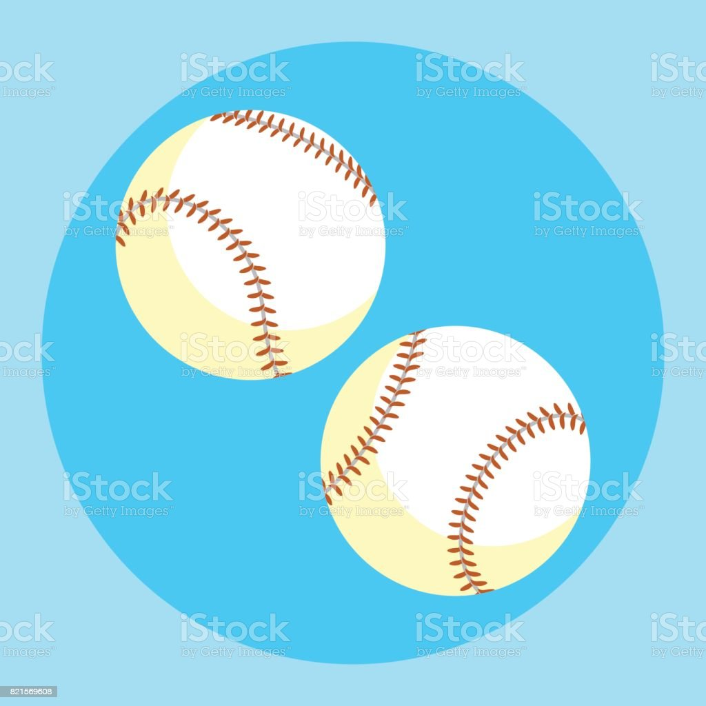 Baseball ball icon. Colorful baseball ball on a blue background....