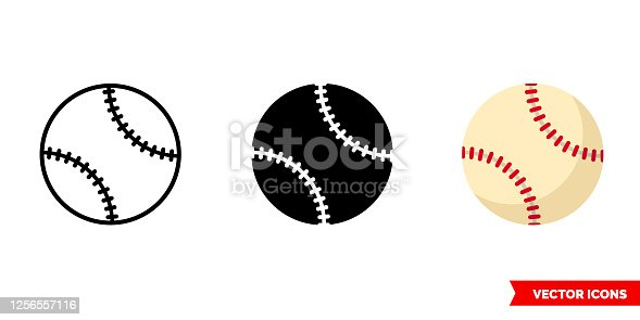 istock Baseball ball icon of 3 types. Isolated vector sign symbol 1256557116