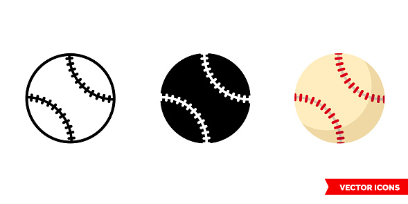 Baseball ball icon of 3 types. Isolated vector sign symbol