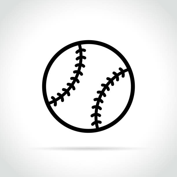 baseball ball icon on white background - softball stock illustrations, clip art, cartoons, & icons