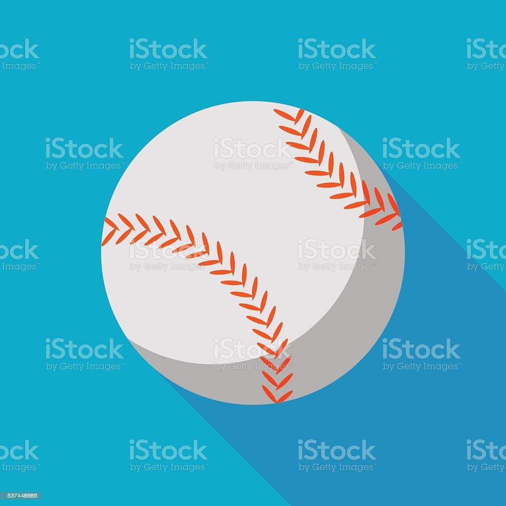 baseball ball icon with long shadow. flat style vector illustration