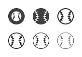 Baseball Ball Icons Multi Series Vector EPS File.