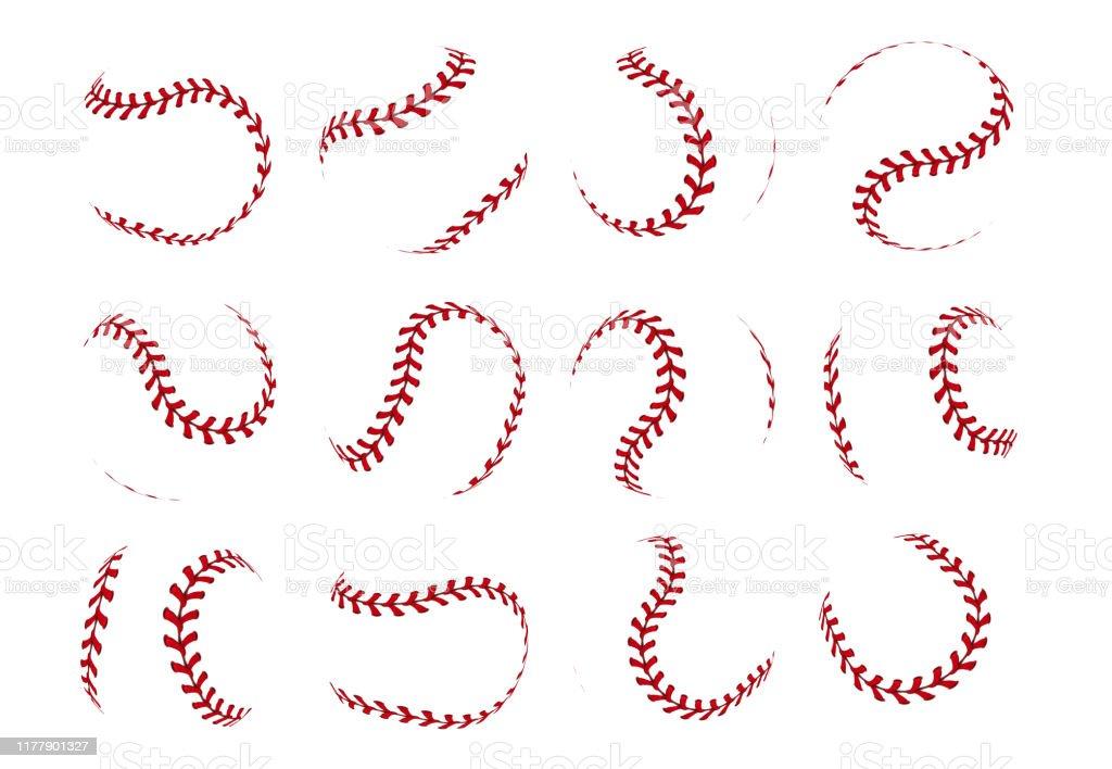 Baseball ball lace. Realistic softball stroke lines for sport logo...