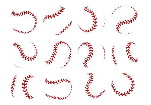 Baseball ball lace. Realistic softball stroke lines for sport logo and banners. Vector set isolated on white