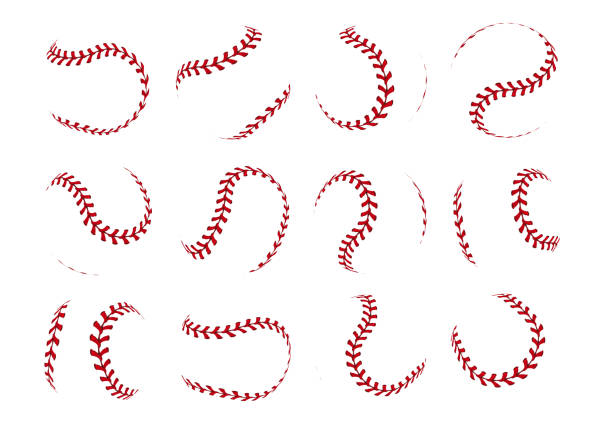 Baseball ball lace. Realistic softball stroke lines for sport logo and banners. Vector set isolated on white vector art illustration
