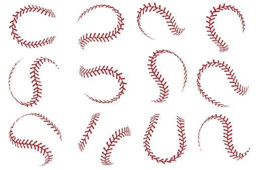 Baseball ball lace. Softball balls with red threads stitches graphic elements, spherical stroke lines for sport leather balls, vector set