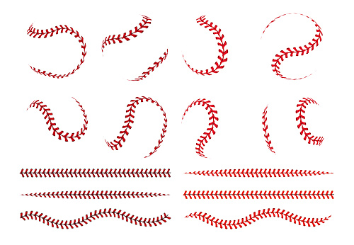 Baseball ball lace. Spherical curve and straight red stroke lines of softball ball. Vector graphic elements for sport logo and banners with leather lacing white objects