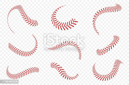Baseball ball laces or seams set. Baseball stitches with red threads. Vector