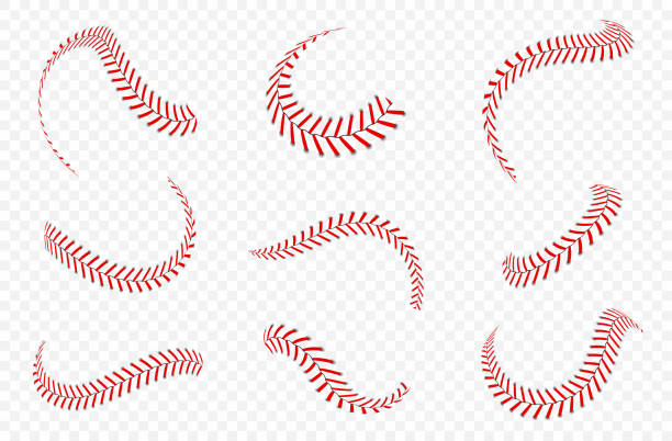 Baseball ball laces or seams set. Baseball stitches with red threads vector art illustration