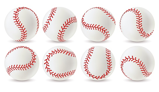 Baseball ball. Leather white softball with red lace stitches, sport equipment for game. Athletic balls with seams realistic vector set