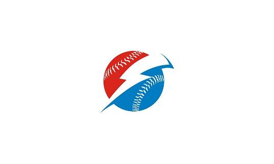 baseball ball lightning vector icon