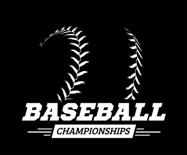 ilustraciones, imágenes clip art, dibujos animados e iconos de stock de bola de béisbol en fondo negro. ilustración de vector - sófbol