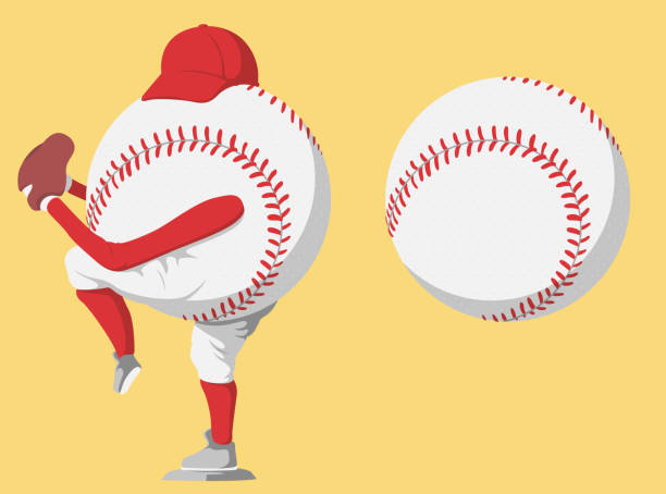baseball-ball-spieler-vektor-illustration - baseball stock-grafiken, -clipart, -cartoons und -symbole