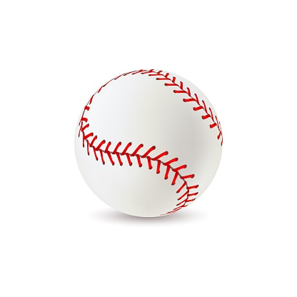 Baseball ball. Realistic sport equipment for game, white leather with red lace stitches 3d softball, athletic professional balls with seams vector isolated single closeup illustration
