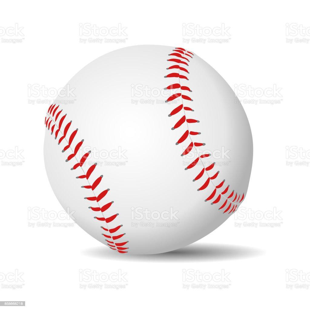 Realista de la bola de béisbol - ilustración de arte vectorial