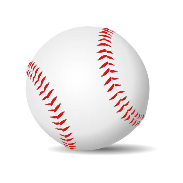 baseball ball realistic - softball stock illustrations, clip art, cartoons, & icons