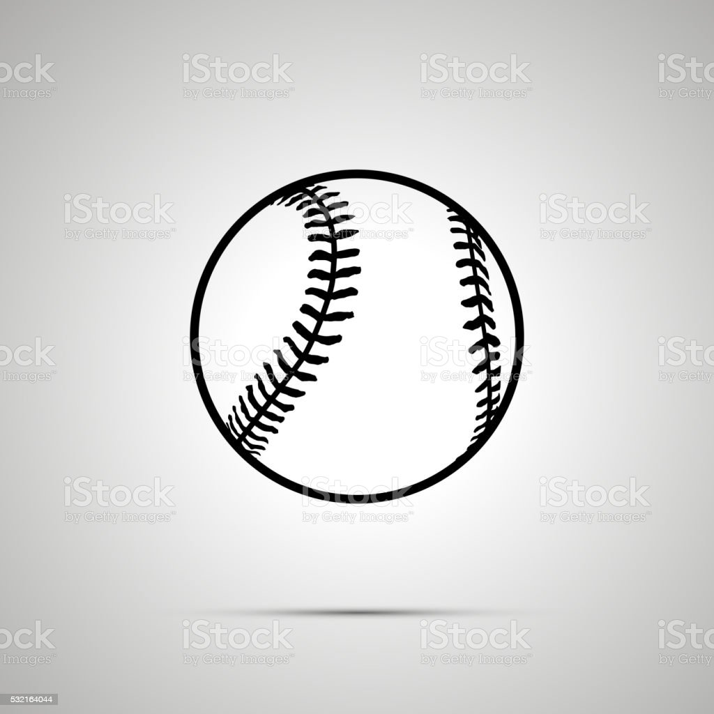 Baseball ball simple black icon vector art illustration