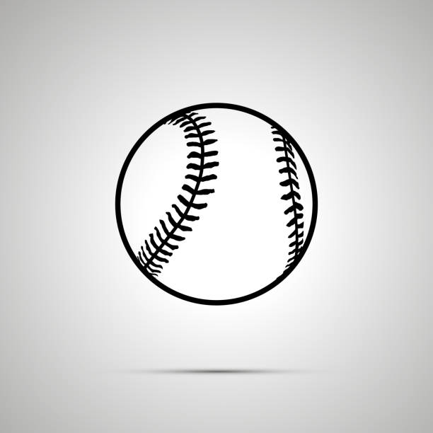 baseball ball simple black icon - softball stock illustrations, clip art, cartoons, & icons