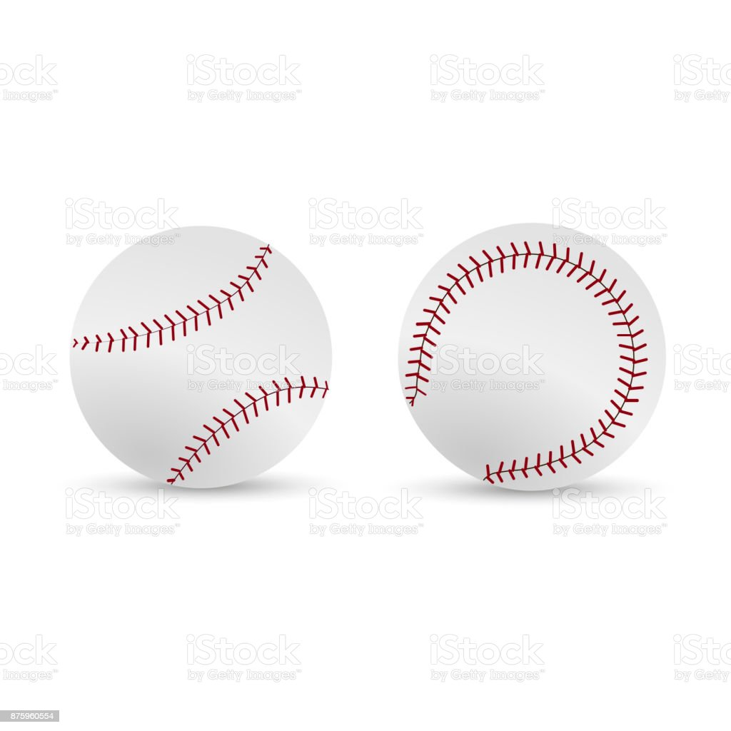 Baseball ball, softball, equipment vector icons. vector art illustration