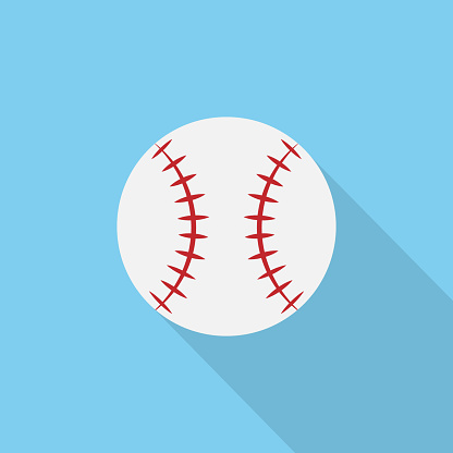 Baseball ball symbol. Vector logo drawn on blue background with long shadow.
