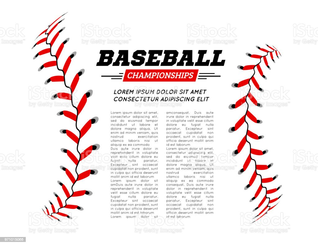 Baseball ball text frame on white background. vector art illustration