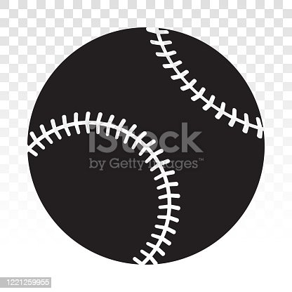 istock Baseball ball vector flat icon for sport apps or website on a transparent background 1221259955