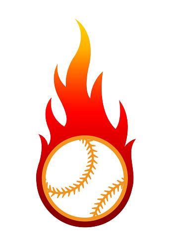 Baseball ball with fire flame vector art graphics
