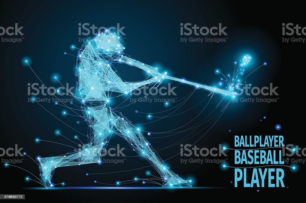 baseball ballplayer polygonal vector art illustration
