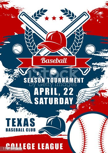 istock Baseball balls, bats and player caps. Sport club 1177618383