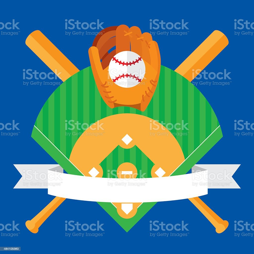 Baseball Banner Flat vector art illustration