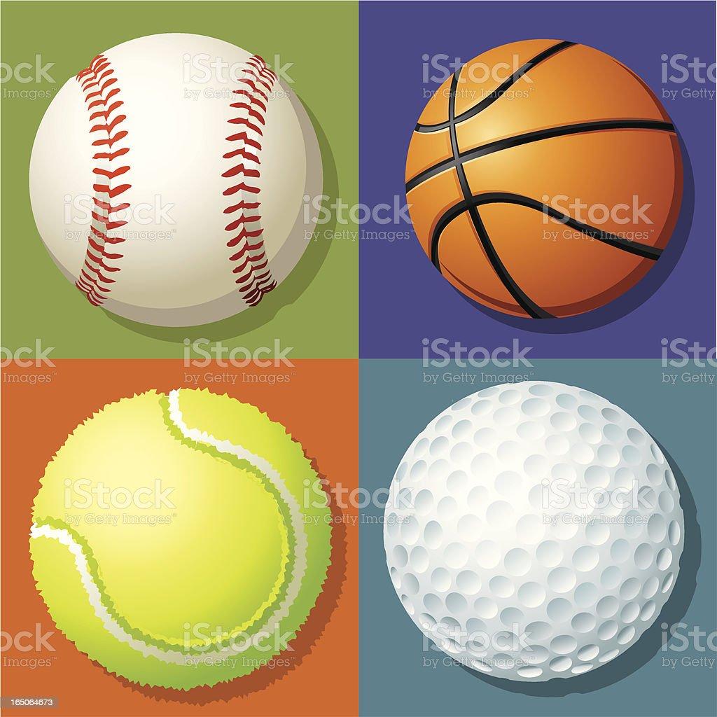 Baseball Basketball Tennis Golf royalty-free stock vector art