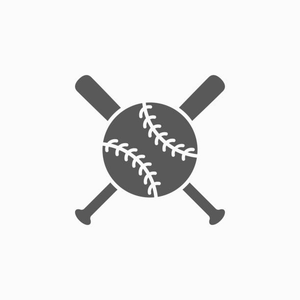 ilustraciones, imágenes clip art, dibujos animados e iconos de stock de icono de bate y pelota de béisbol - sófbol