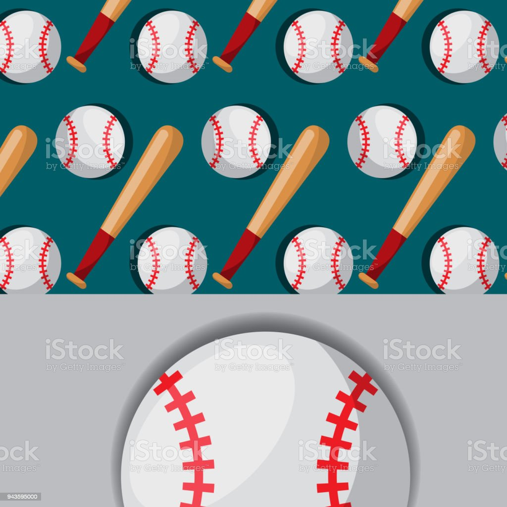 baseball bat and ball sport competition pattern vector art illustration