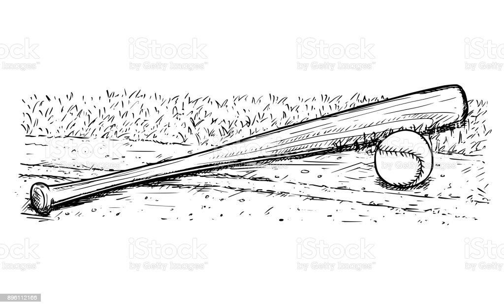Baseball Bat and Ball Vector Hand Drawing vector art illustration