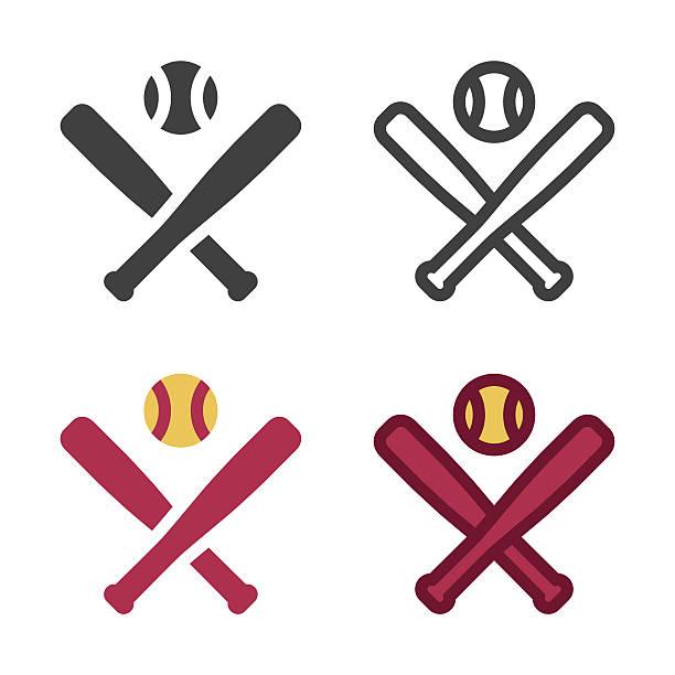 野球のバットのアイコン - ソフトボール点のイラスト素材/クリップアート素材/マンガ素材/アイコン素材