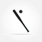 Baseball bat icon with baseball ball. Vector illustration.