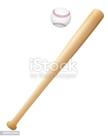 istock Baseball bat with ball. Wooden textured isolated vector illustration on white background. 959693840