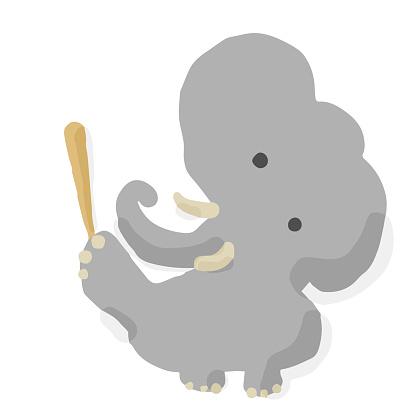 Baseball Batter 06 Elephant; Hand drawn vector illustration like woodblock print