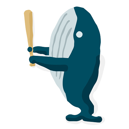 Baseball Batter 09 Whale; Hand drawn vector illustration like woodblock print