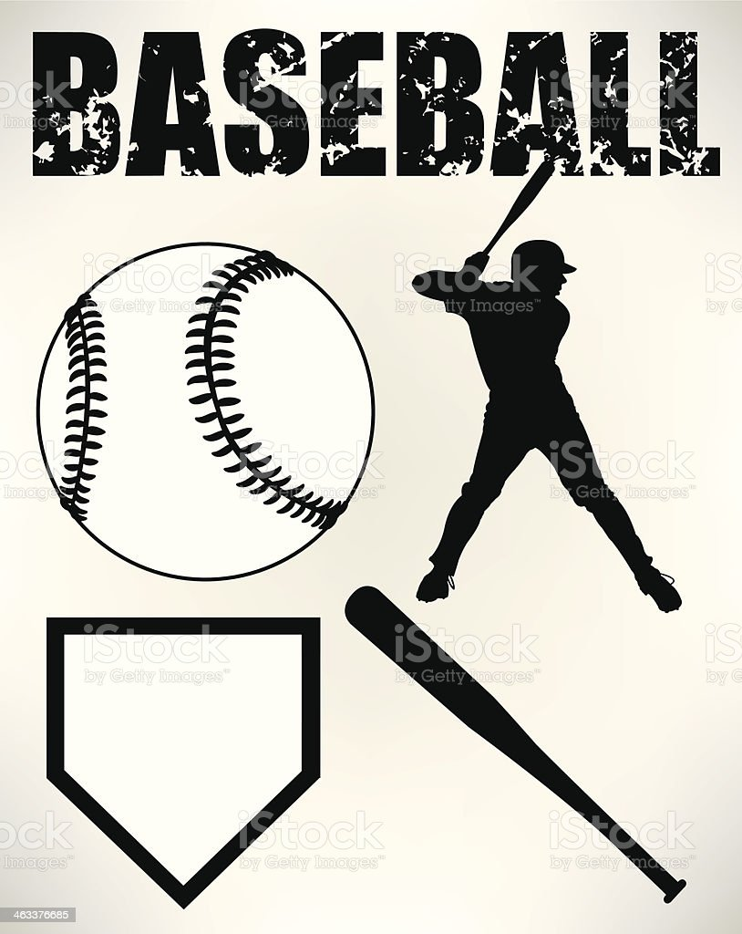 Baseball Batter and Sports Equipment vector art illustration