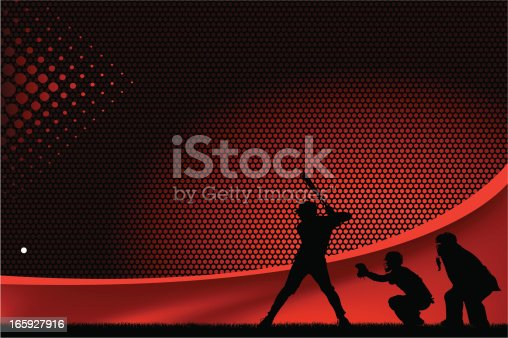 Graphic silhouette background illustration of a baseball batter, catcher and umpire. Scale to any size. Check out my